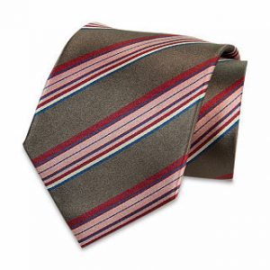 Seiden-Krawatte (Anthrazit – Rosa gestreift)
