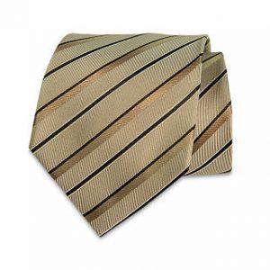 Seiden-Krawatte (Braun - Beige gestreift)