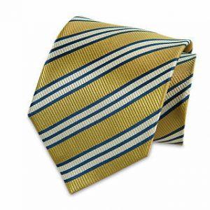 Seiden-Krawatte (Gelb - Blau - Weiss gestreift)
