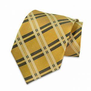 Seiden-Krawatte (Gold - Schwarz kariert)
