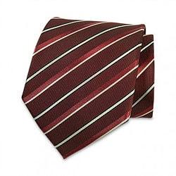 Seiden-Krawatte (Weinrot – Weiss gestreift)