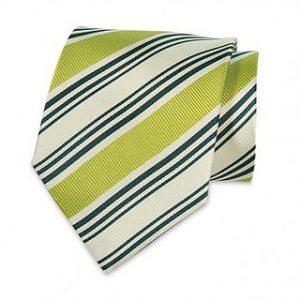 Seiden-Krawatte (Weiss – Grün gestreift)
